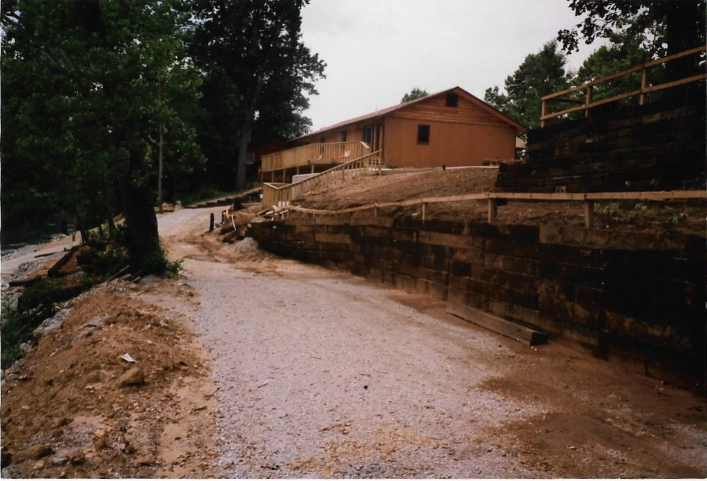 First  terrace wall on lakefront road built in 1989.  The landscape timbers did not survive the first heavy rainfall.