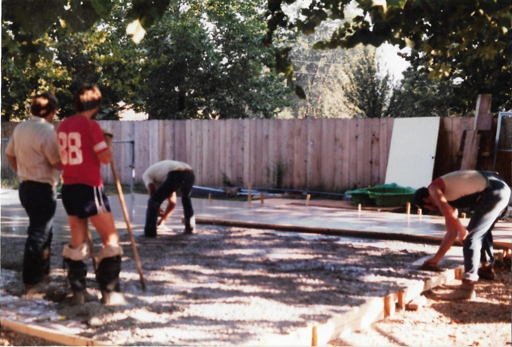 Pouring pad for unit #22, 1985
