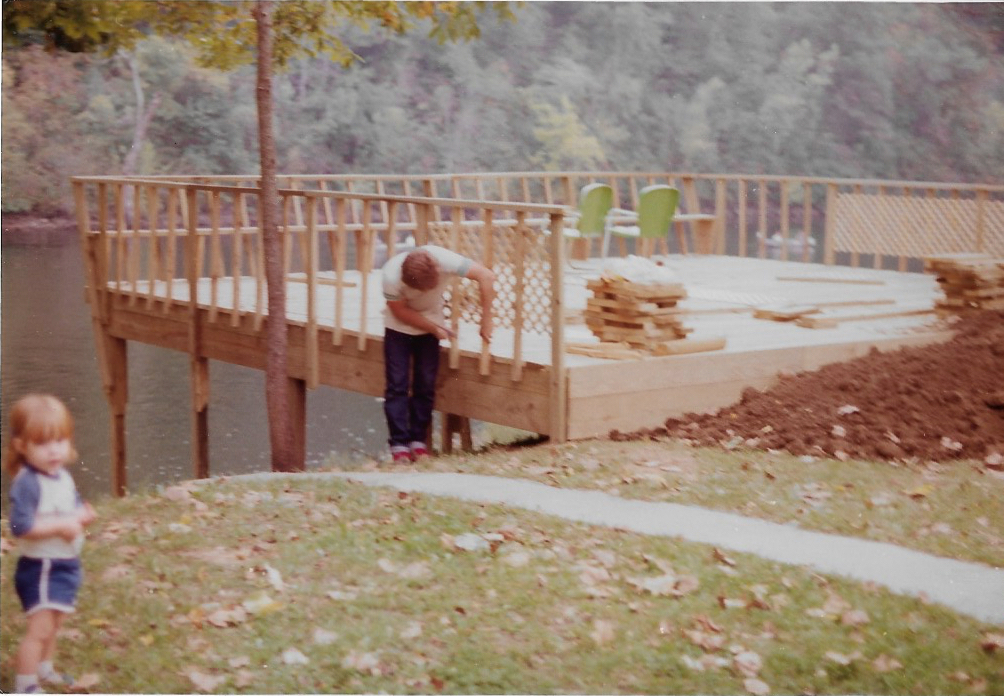 Jerry Lilley building the pavilion deck in 1984.