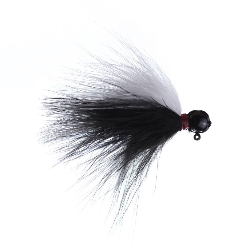 Lilley's Black/white, Black Head Marabou Jig