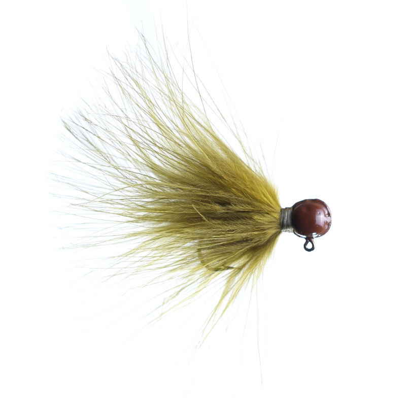 Lilley's Olive, Brown Head Marabou Jig