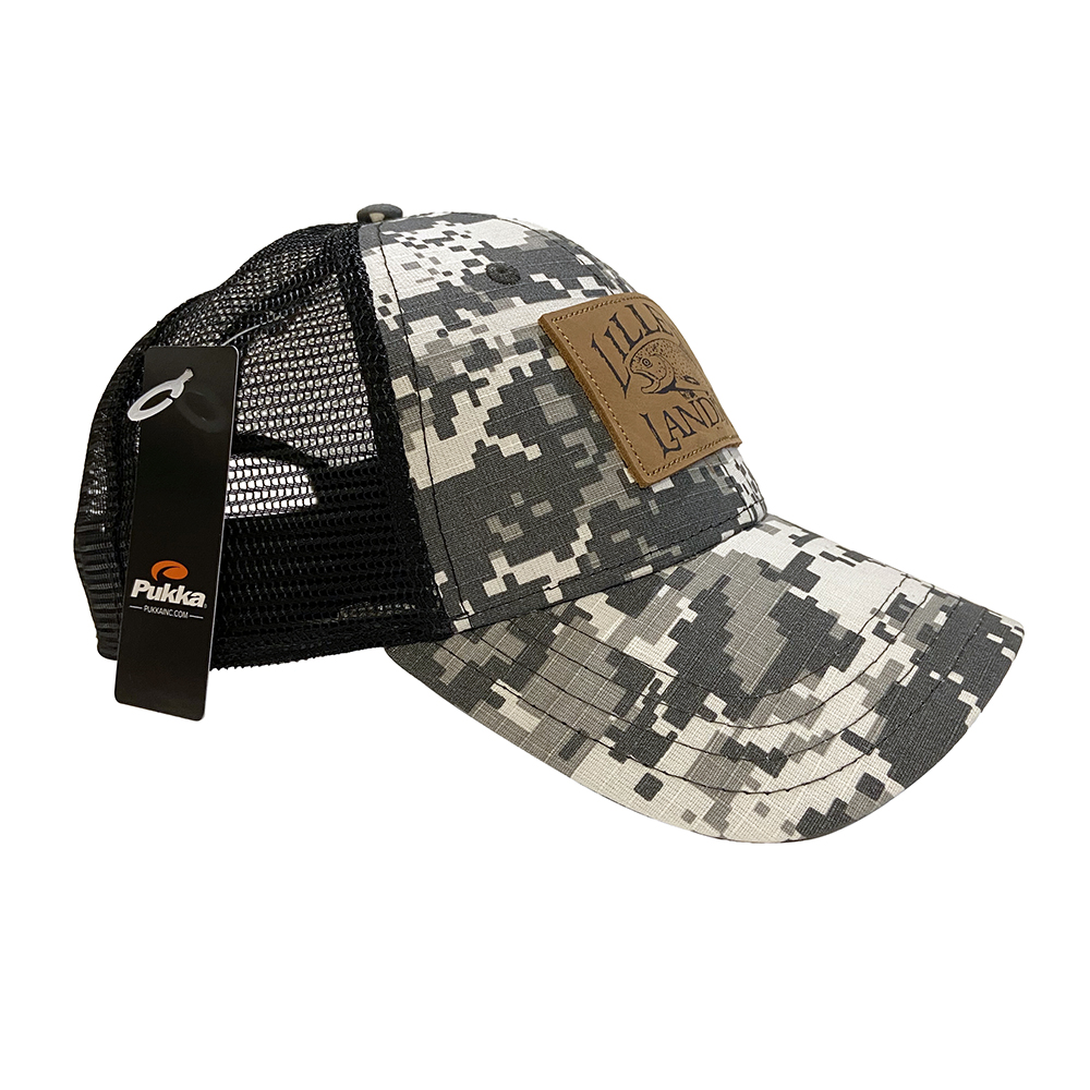 Leather Patch Hat – Gray Digital Camo